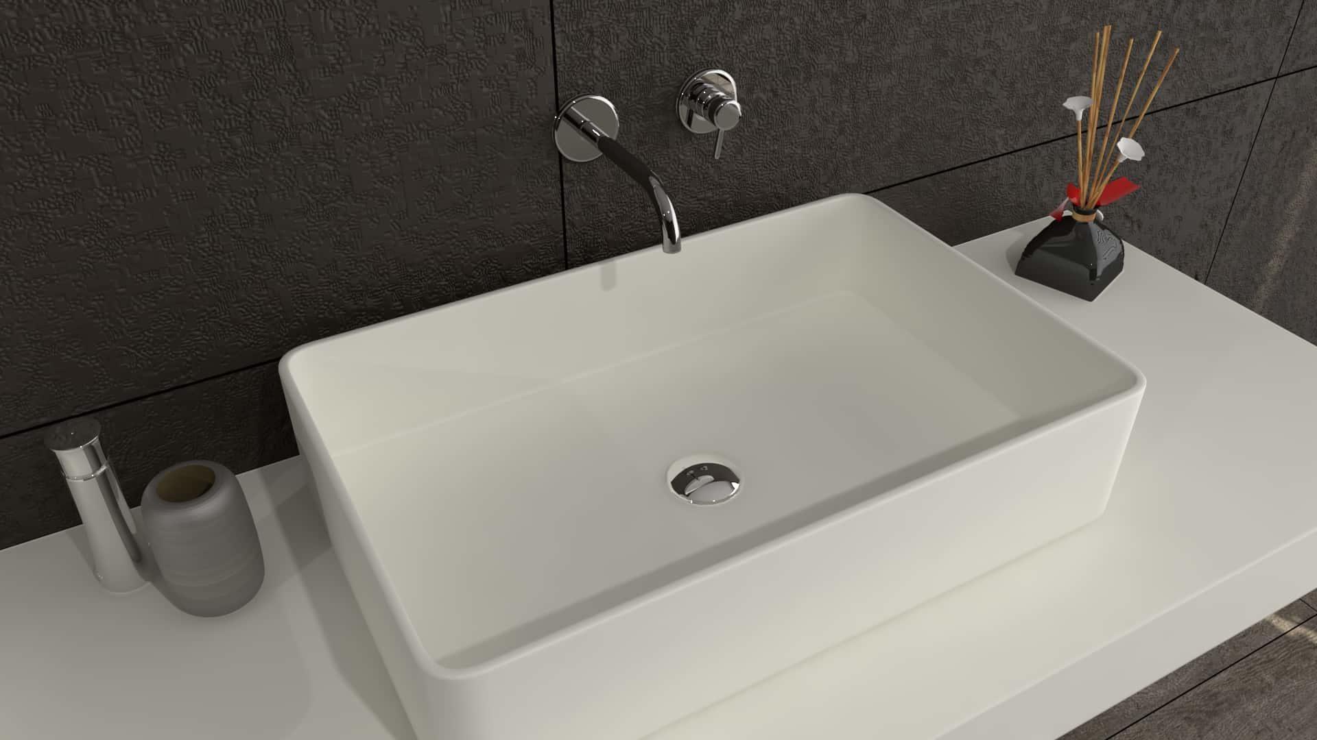 DEfiant rectangle Hi-Macs Solid Surface Waskom