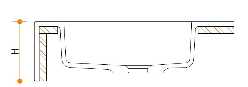 Wastafelblad type 2 zonder tekst